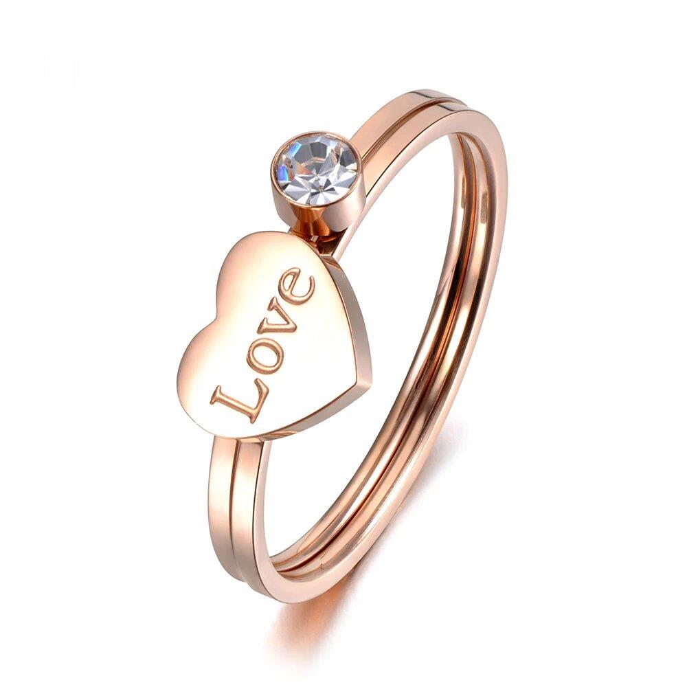 Classic Design 2 In 1 Stainless Steel Love Heart Ring Rose Gold Micro Cz Crystal Anniversary Rings For Women Girls R19026 The Jewelry Land