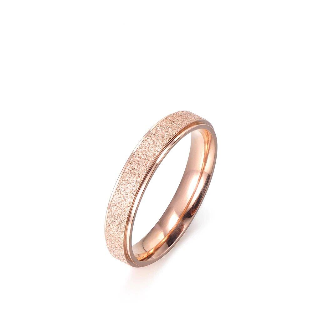 Fashion Jewelry Ring Simple Design Rose Gold Color Titanium Steel Engagement Wedding Rings For Women Bague Femme The Jewelry Land