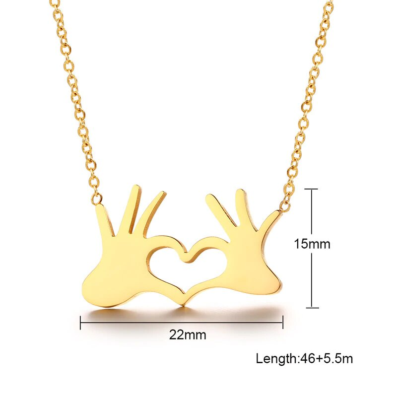 Gold Color Heart Love Gesture Pendant For Women Choker Stainless