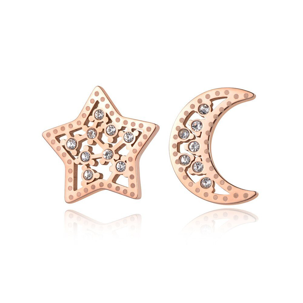 Trendy Ol Style Stainless Steel Cz Crystal Star Moon Stud Earrings