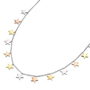 Trendy Original Design Titanium Stainless Steel 3 Gold Color Star Charm Necklaces Pendant Chain Necklace For Women N19069