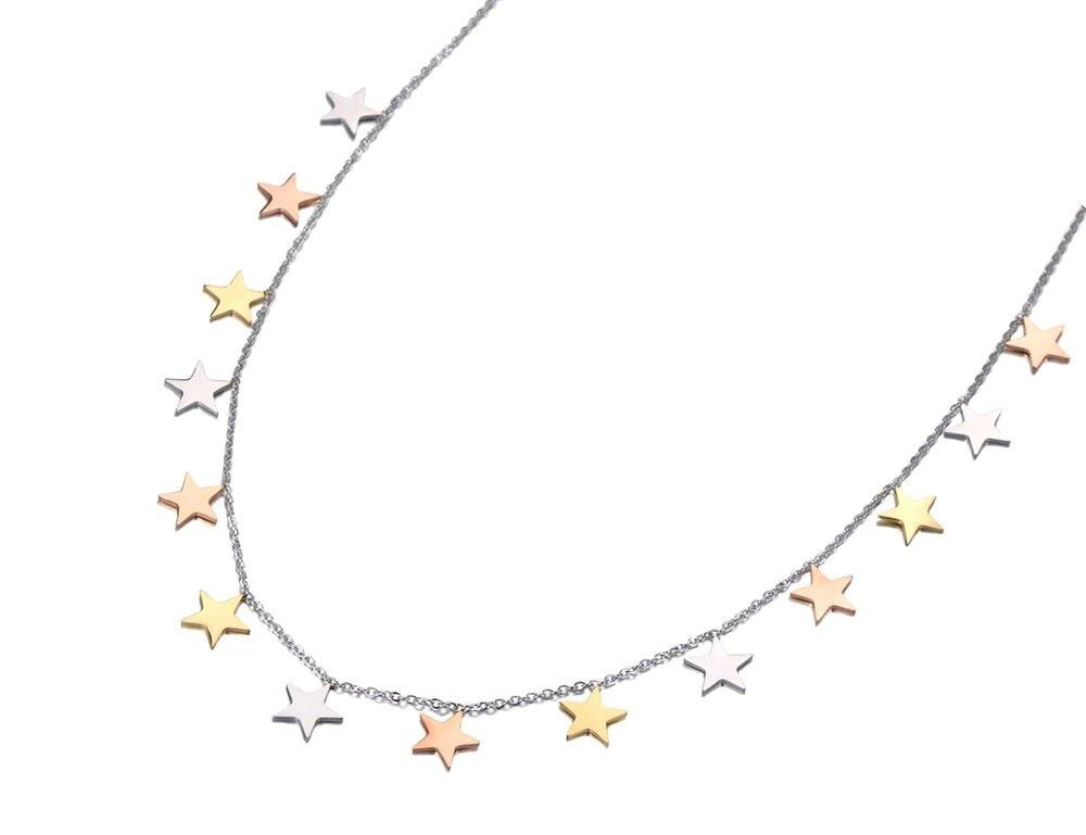 Trendy Original Design Titanium Stainless Steel 3 Gold Color Star Charm Necklaces Pendant Chain Necklace For Women N19069 The Jewelry Land