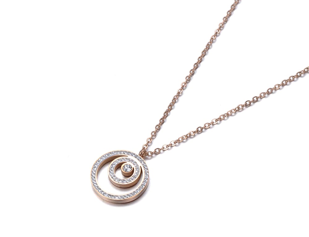 3 Circle White Rhinestones Pendant Necklace Rose Gold Color Stainless Steel Jewelry Gift For Girl Lady Women N18272 The Jewelry Land